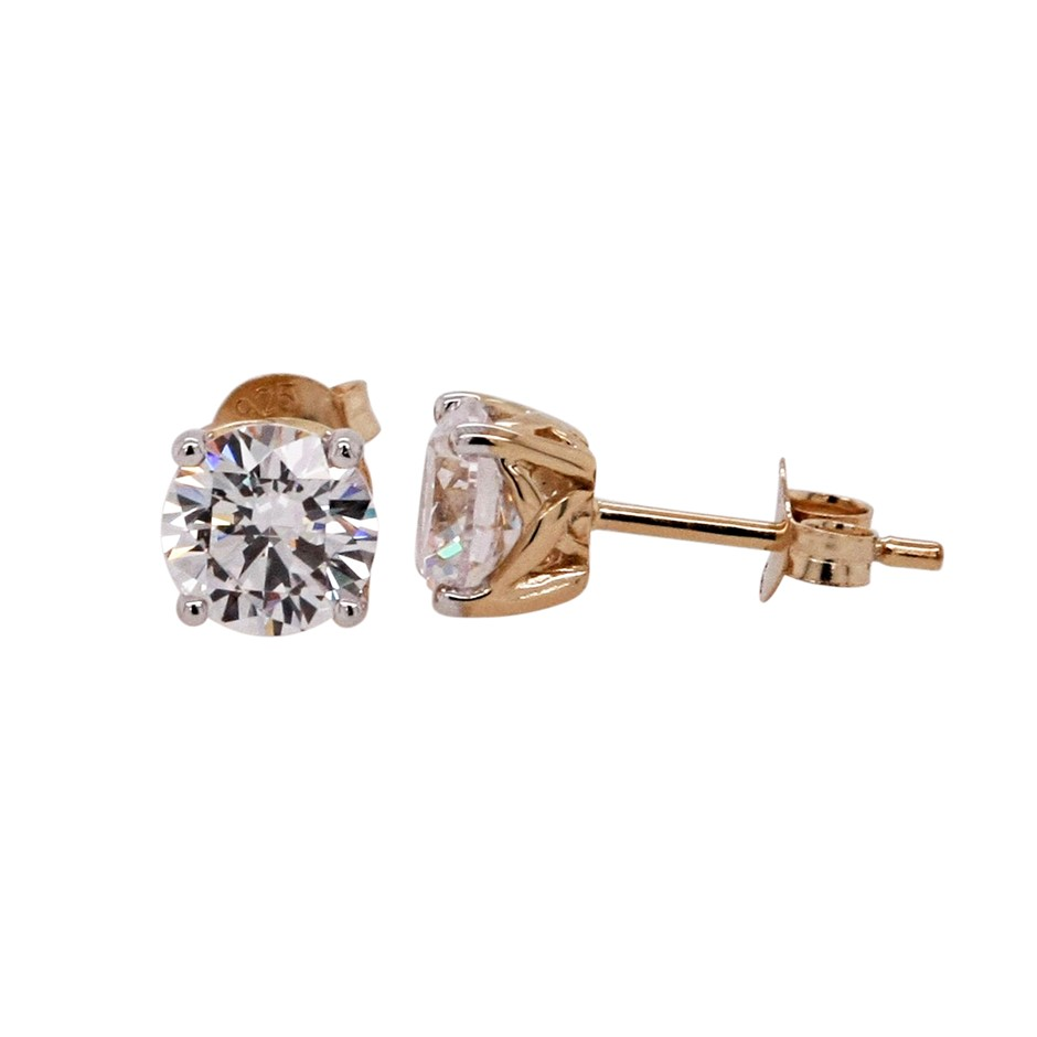 Ladies Yellow Gold Vermeil White 6.50mm CZ Stud Earring
