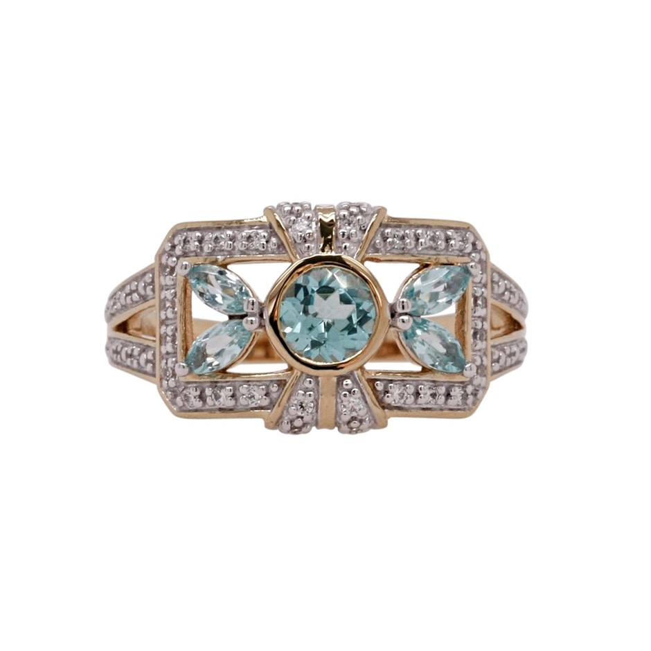 Ladies Yellow Gold Vermeil Paraiba Tourmaline (CR) & White CZ Vintage Ring.