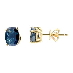 9ct Yellow Gold, 3.11ct Blue Sapphire Ea