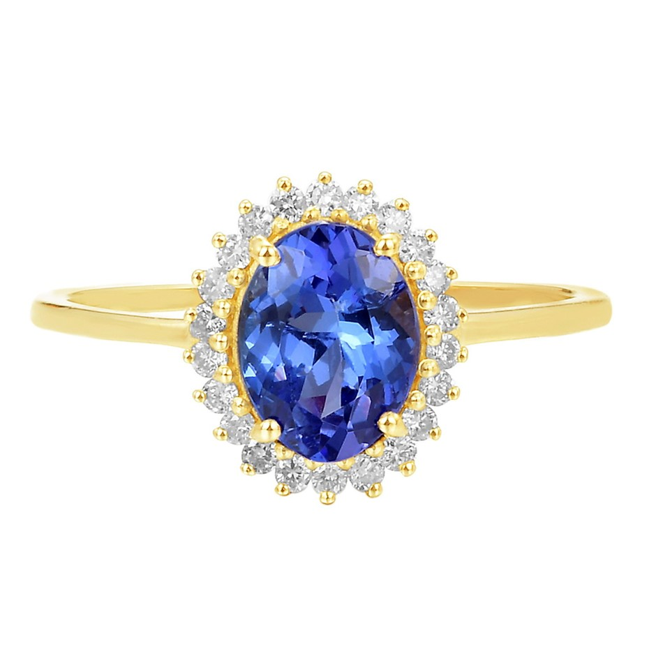 9ct Yellow Gold, 1.35ct Tanzanite and Diamond Ring