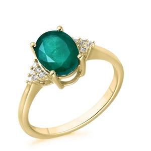 9ct Yellow Gold, 1.54ct Emerald and Diam
