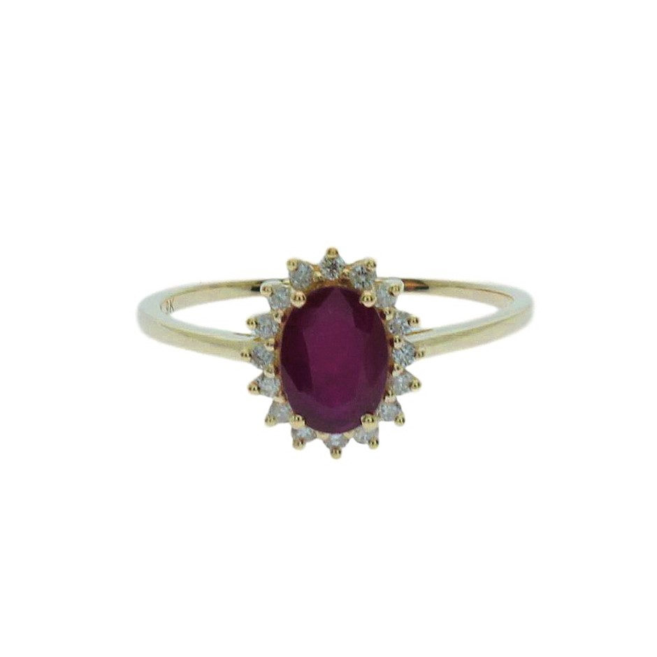 9ct Yellow Gold, 1.13ct Ruby and Diamond Ring