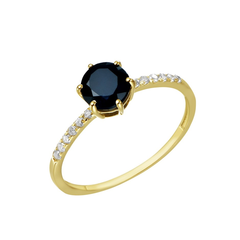 9ct Yellow Gold, 1.22ct Blue Sapphire and Diamond Ring