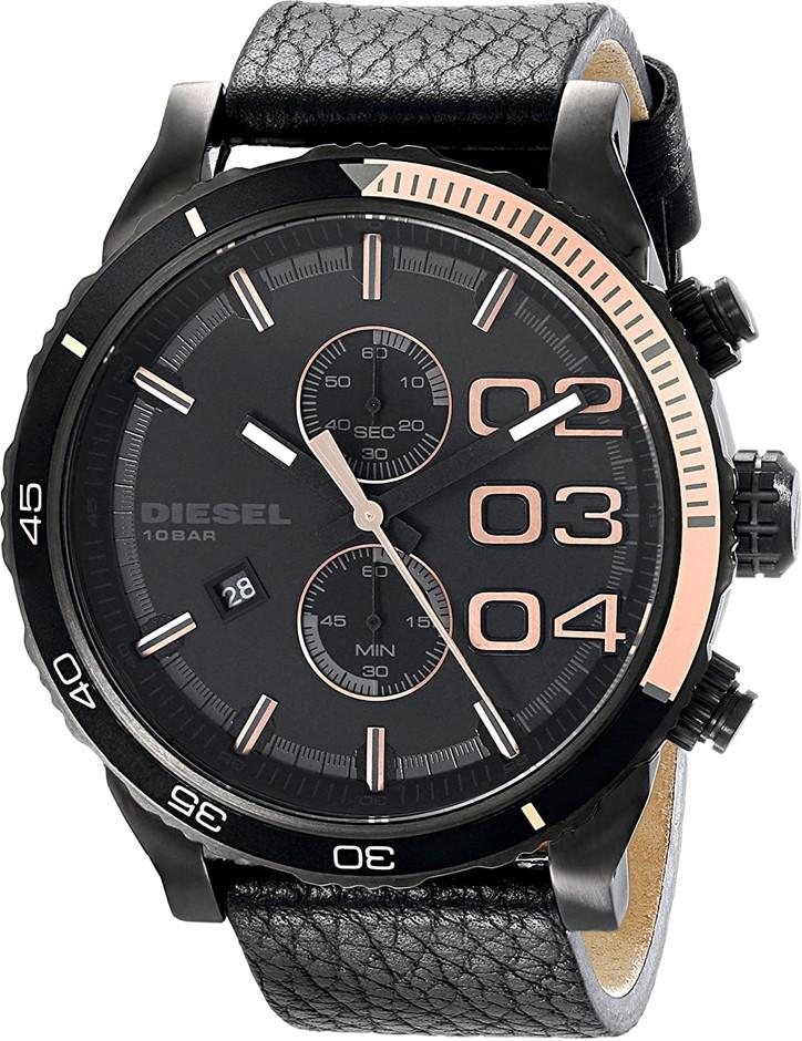 Designer Diesel Double Down Chronograph Black Men's Watch.