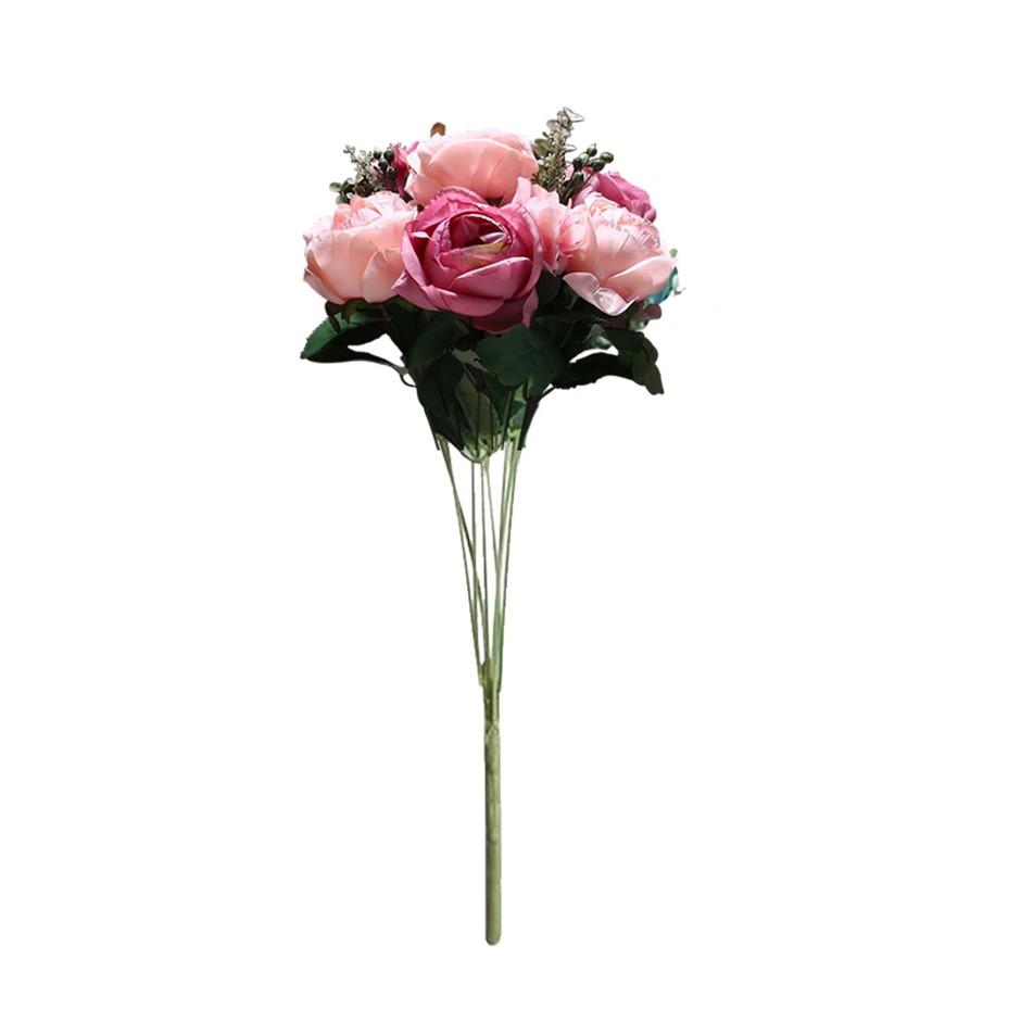 SOGA 3pcs Artificial Silk w/ 15 Heads Flower Fake Rose Bouquet Table Décor