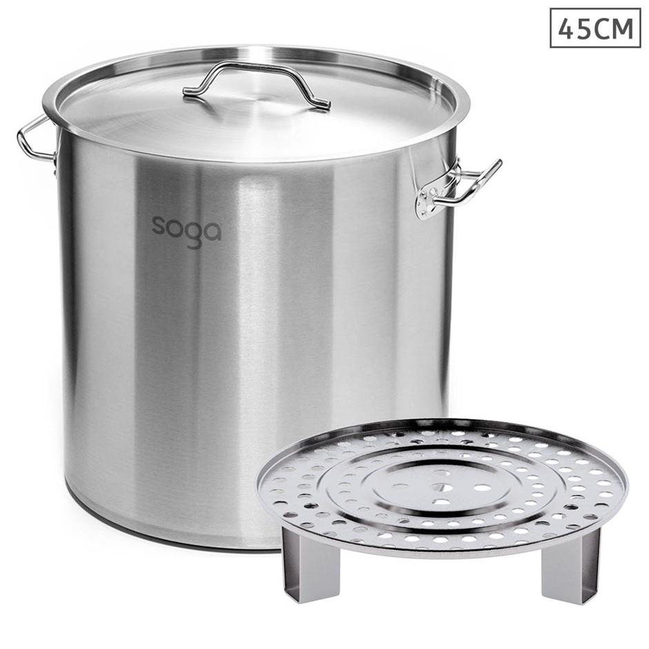 SOGA 45cm S/S Stock Pot w/ One Steamer Rack Insert Stockpot Tray