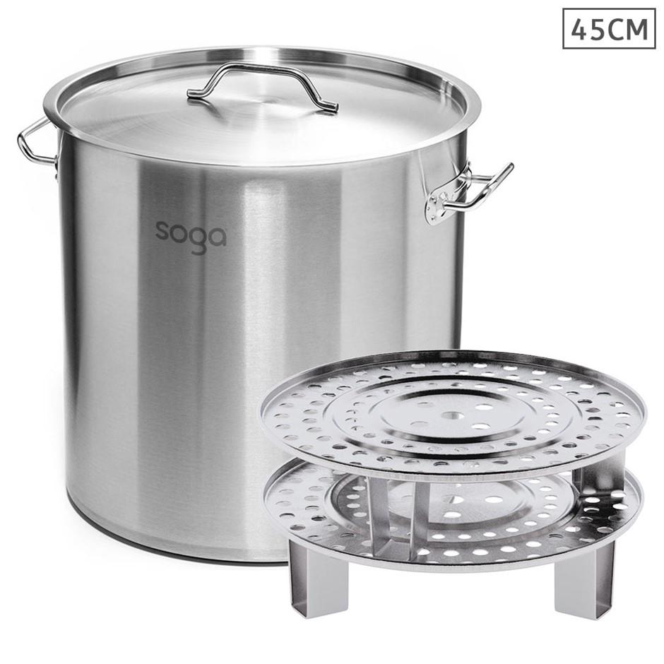 SOGA 45cm S/S Stock Pot w/ Two Steamer Rack Insert Stockpot Tray
