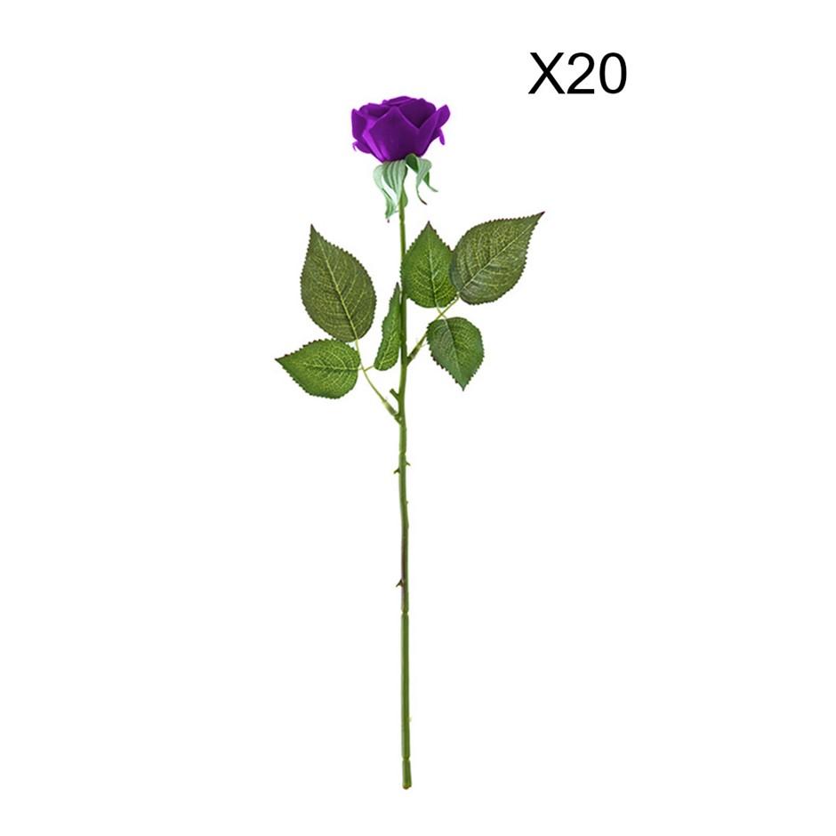 SOGA 20pcs Artificial Silk Flower Fake Rose Bouquet Table Decor Purple