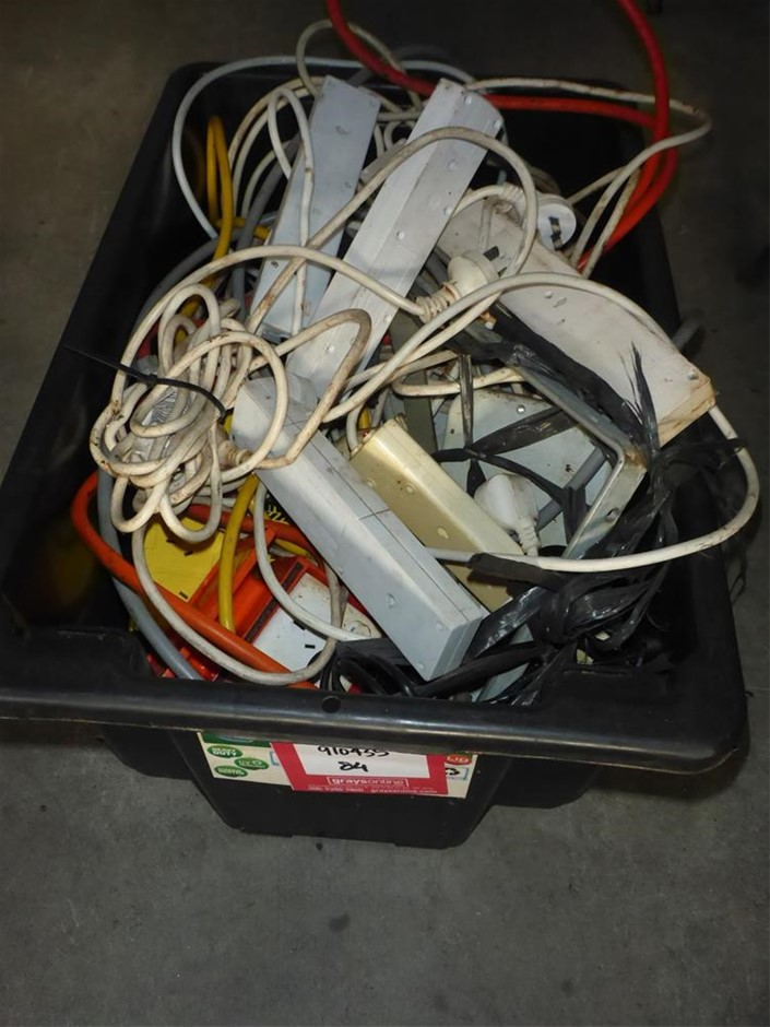 Tub Containing Assorted Extensions Leads & Power Boards