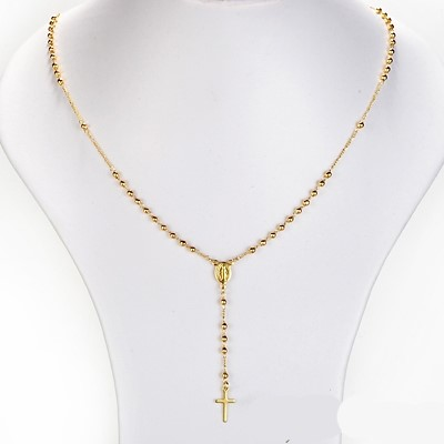 Ladies gold plated rosary bead necklace 16""