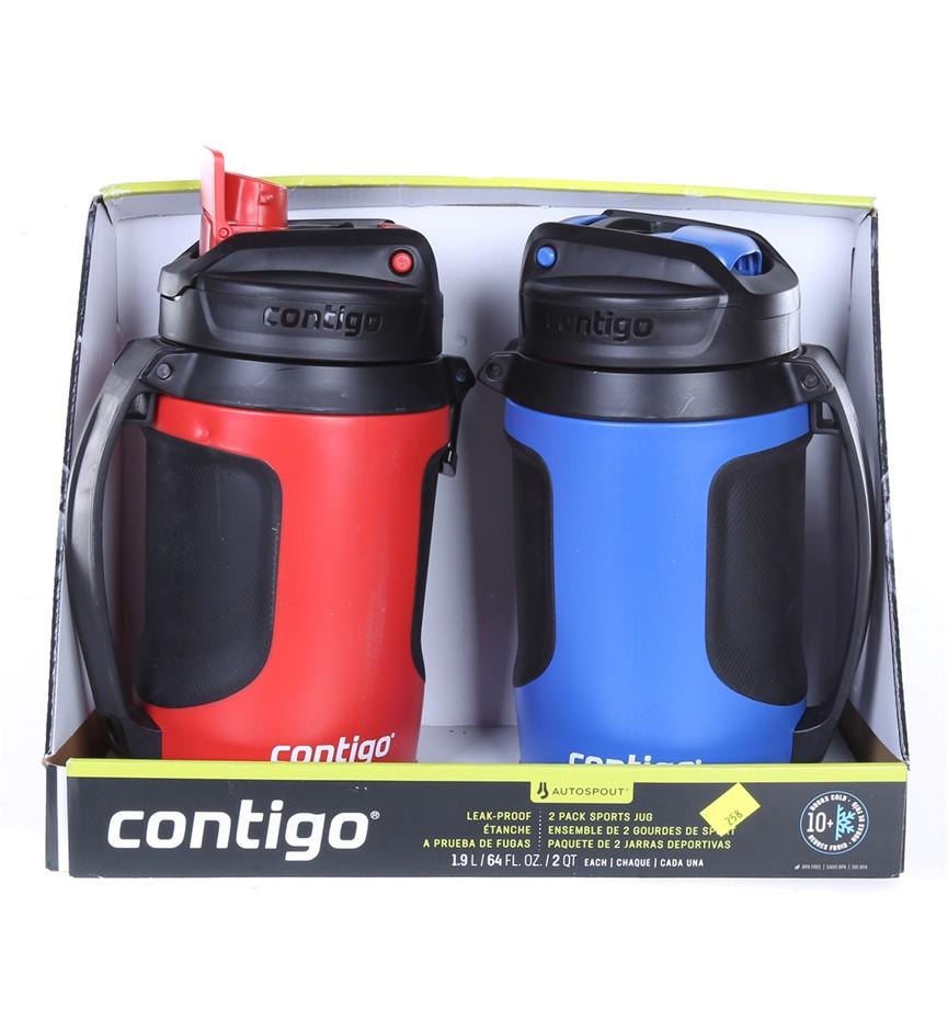 CONTIGO 2pk Autospout Leak- Proof Sports Jug, 1.9L, Red/ Black & Blue/Black