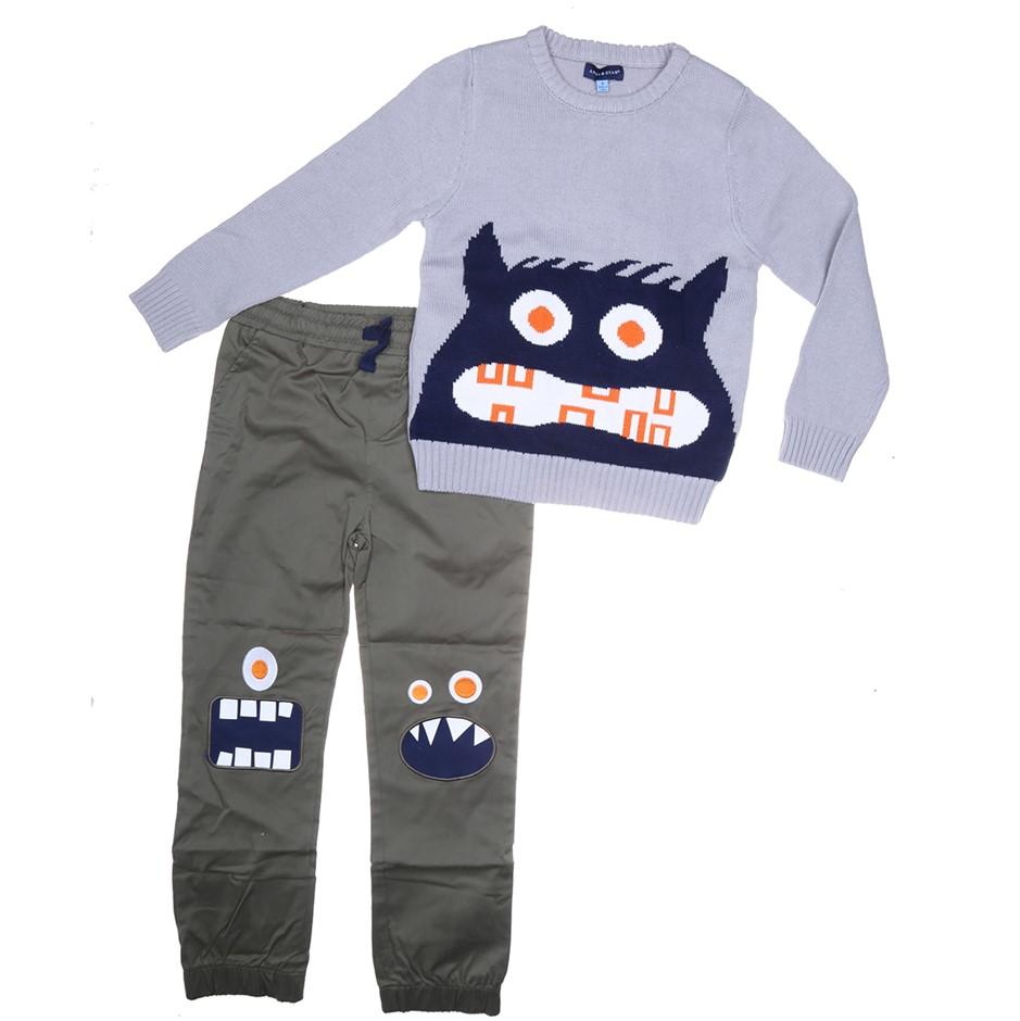 ANDY & EVAN Boy`s 2pc Clothing Set, Comprising; Jumper Long Pants, Size 7,