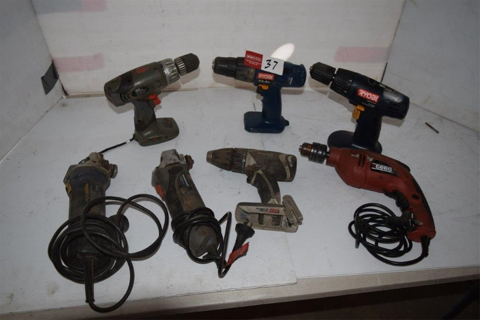 Lot of 7 Assorted Corded & Cordless Power Tools