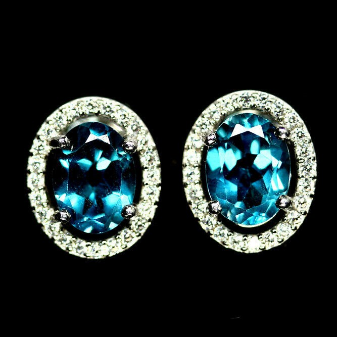 Stunning Genuine London Blue Topaz Stud Earrings.
