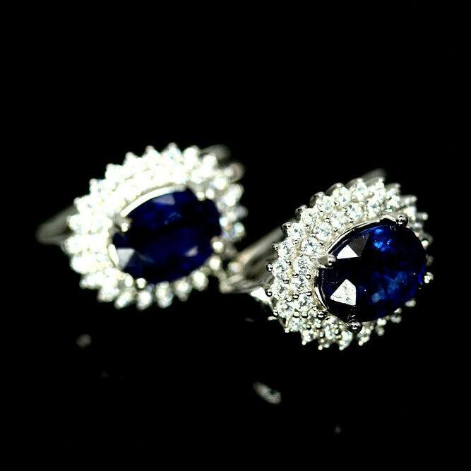 Stunning Genuine Blue Sapphire Huggie Earrings