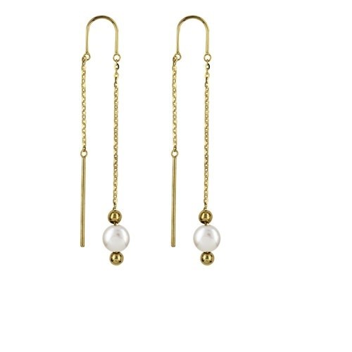 Genuine 9karrat yellow Gold Italian Thread Earrings 6mm Pearl