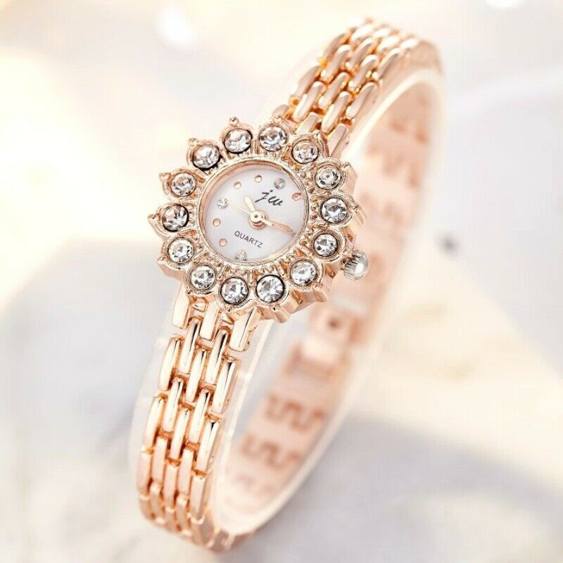 Luxury Stylish Rose Gold Plated Crystal Sunflower Face Dress Quartz Watch