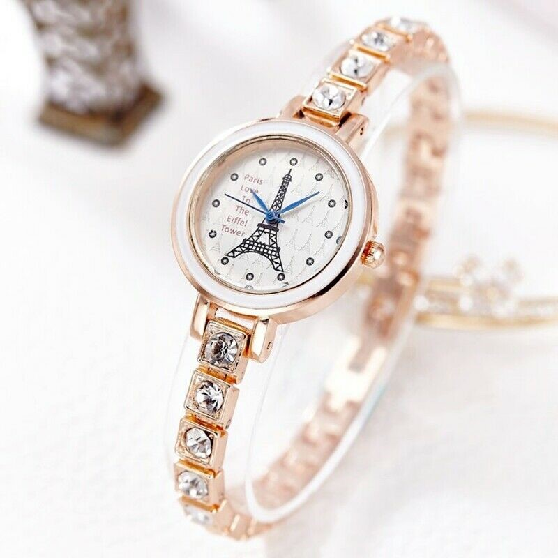 Luxury Eiffel Tower Rhinestone Rose Gold Stainless Steel Women's Watch