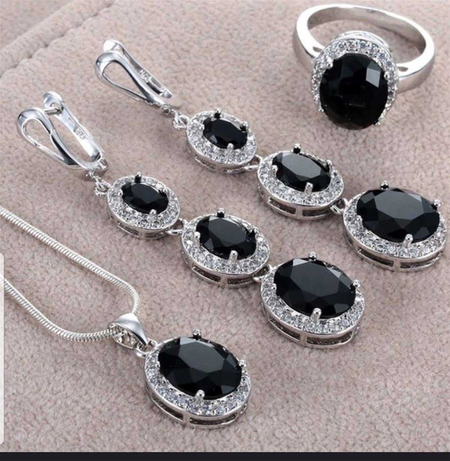 Luxury Silver plated sets Jewellery Black cubic zircon jewellery set