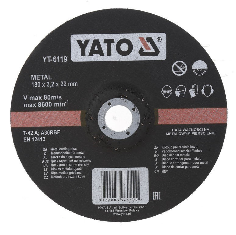 10 x YATO Metal Cutting Discs, 180x3.2x22mm. Buyers Note - Discount Freight