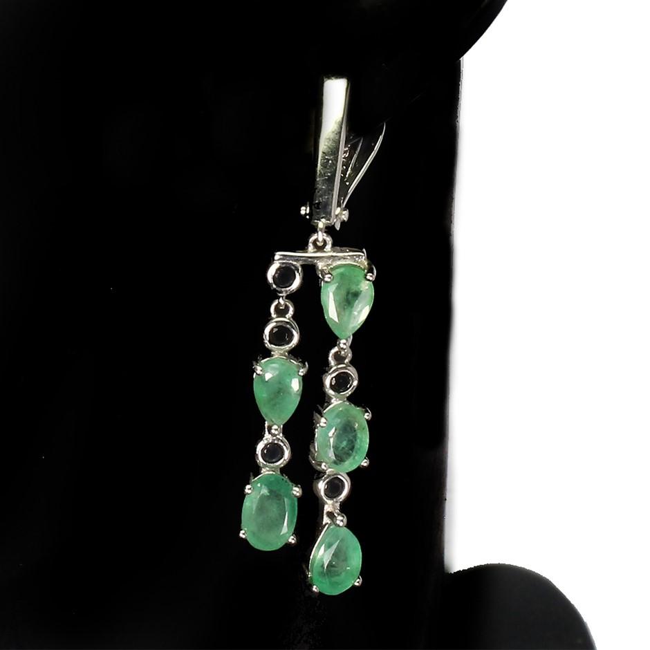 Gorgeous Genuine Emerald & Spinel Drop Earrings.