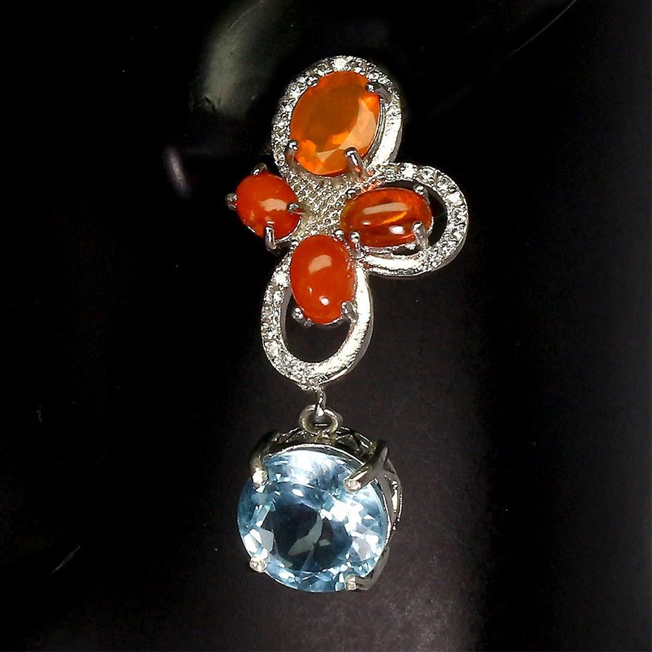 Unique Genuine Fire Opal & Topaz Earrings