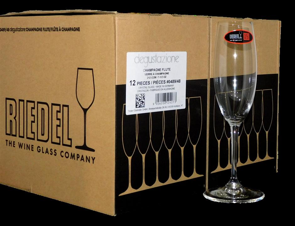 Riedel 212CCM Degustazione Crystal Glass Champagne Flutes (12 x 212CCM)