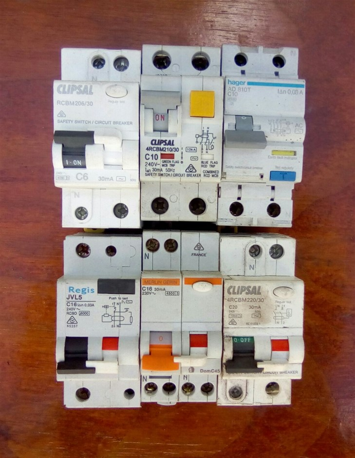 Lot of 6 Various Brand 6 to 20A 2 Pole Earth Leakage Breakers