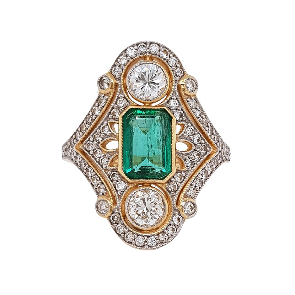 18ct Yellow Gold, 3.00ct Emerald and Diamond Ring