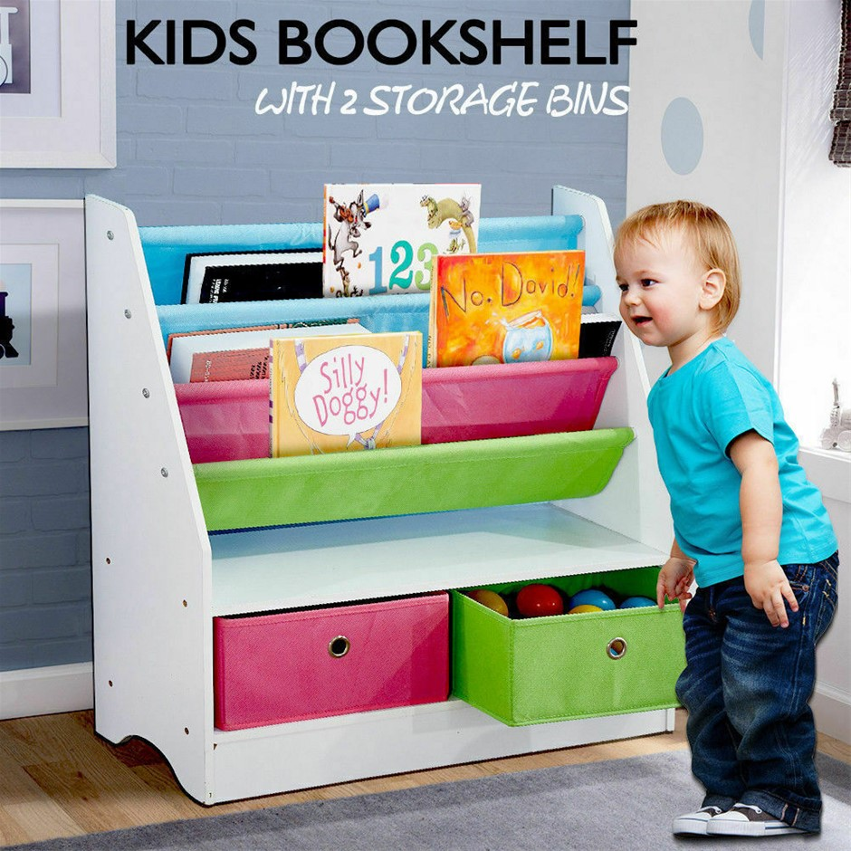 Levede Wooden Kids Children Bookcase Bookshelf Toy Organiser Bin Rack