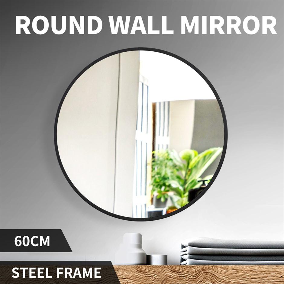 Wall Mirror Round Shaped Bathroom Makeup Mirrors Smooth Edge 60CM