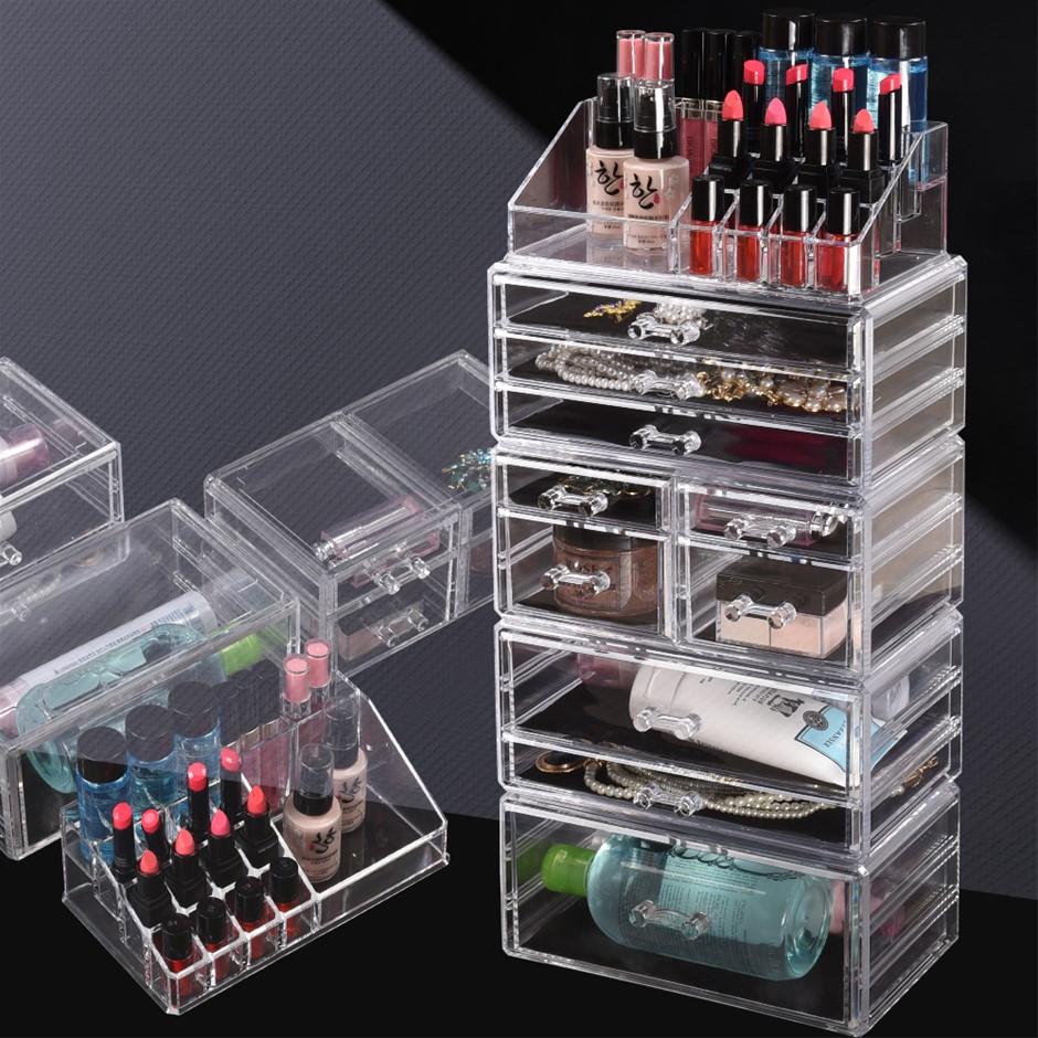Cosmetic 10 Drawer Makeup Organizer Storage Jewellery Box Clear Acrylic