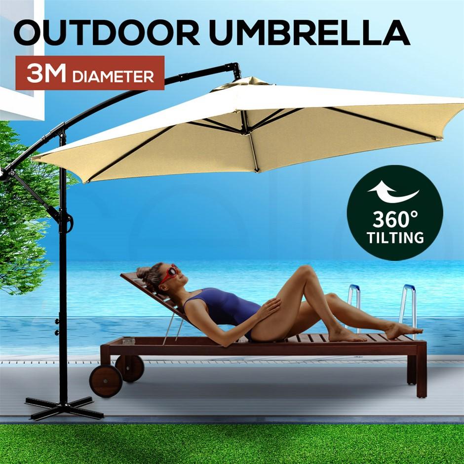 3M Umbrella Cantilever Cover Garden Patio Beach Umbrellas Crank Beige