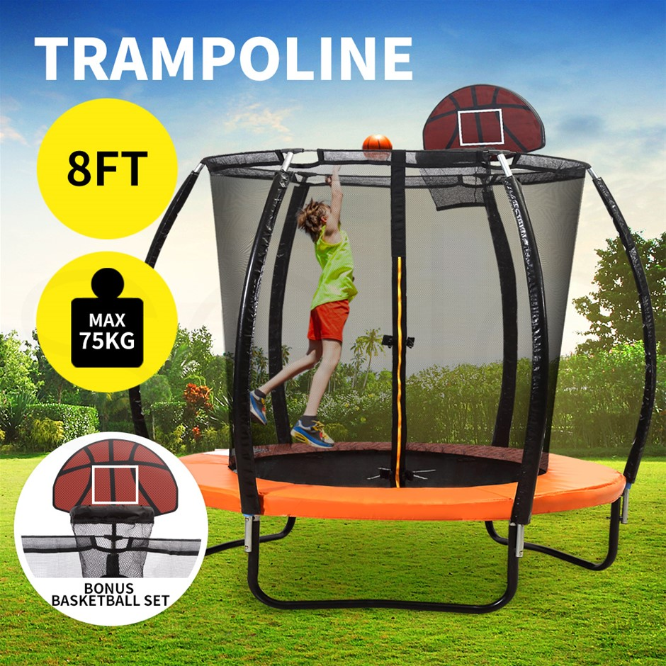 8FT Trampoline Round Trampolines Kids Enclosure Safety Net Basketball