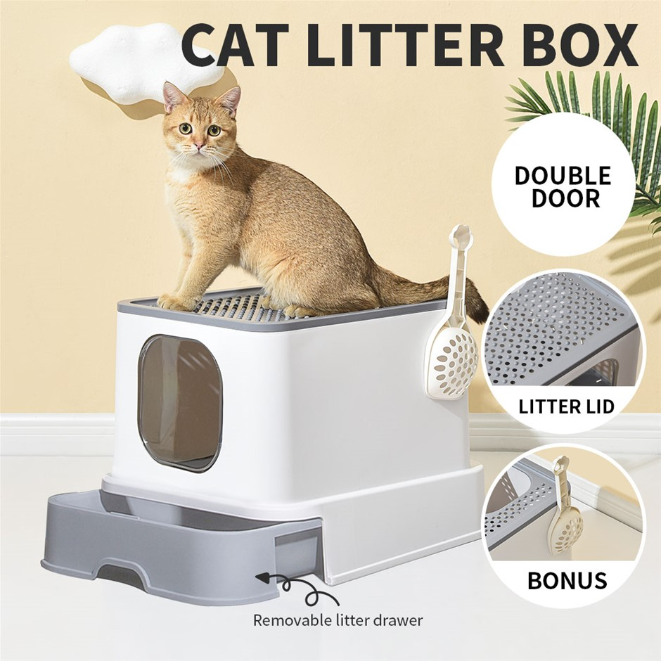 Cat Litter Box Fully Enclosed Toilet Trapping Sifting Odor Control Basin