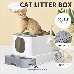 Cat Litter Box Fully Enclosed Toilet Tra
