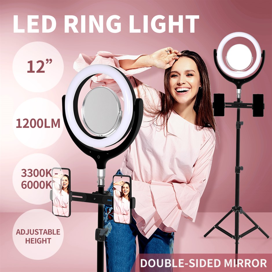 LED Ring Light w/ Tripod Stand Holder Dimmable Studio Lamp Makeup Mirror