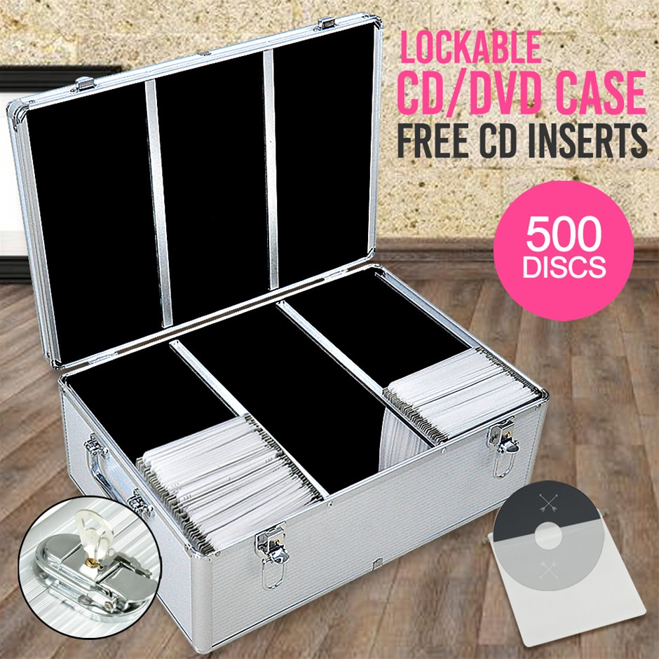 500 Discs Aluminium CD DVD Cases Bluray Lock Box Organizer Free Inserts