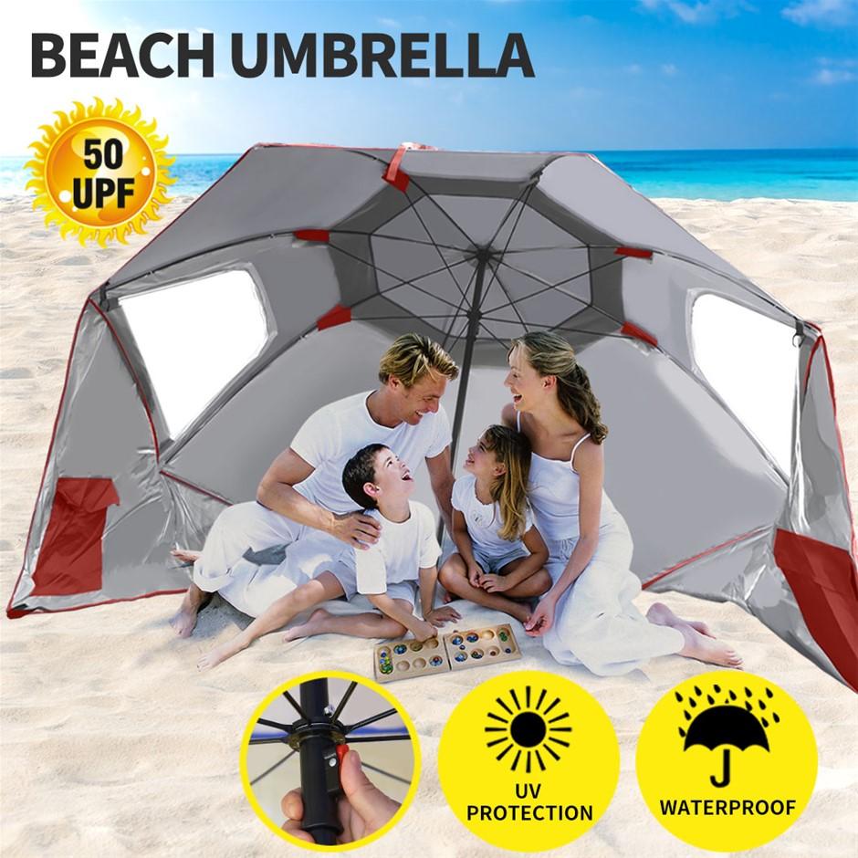 Umbrella Beach Umbrellas Sun Shade Weather Patio Garden Shelter 2M Red
