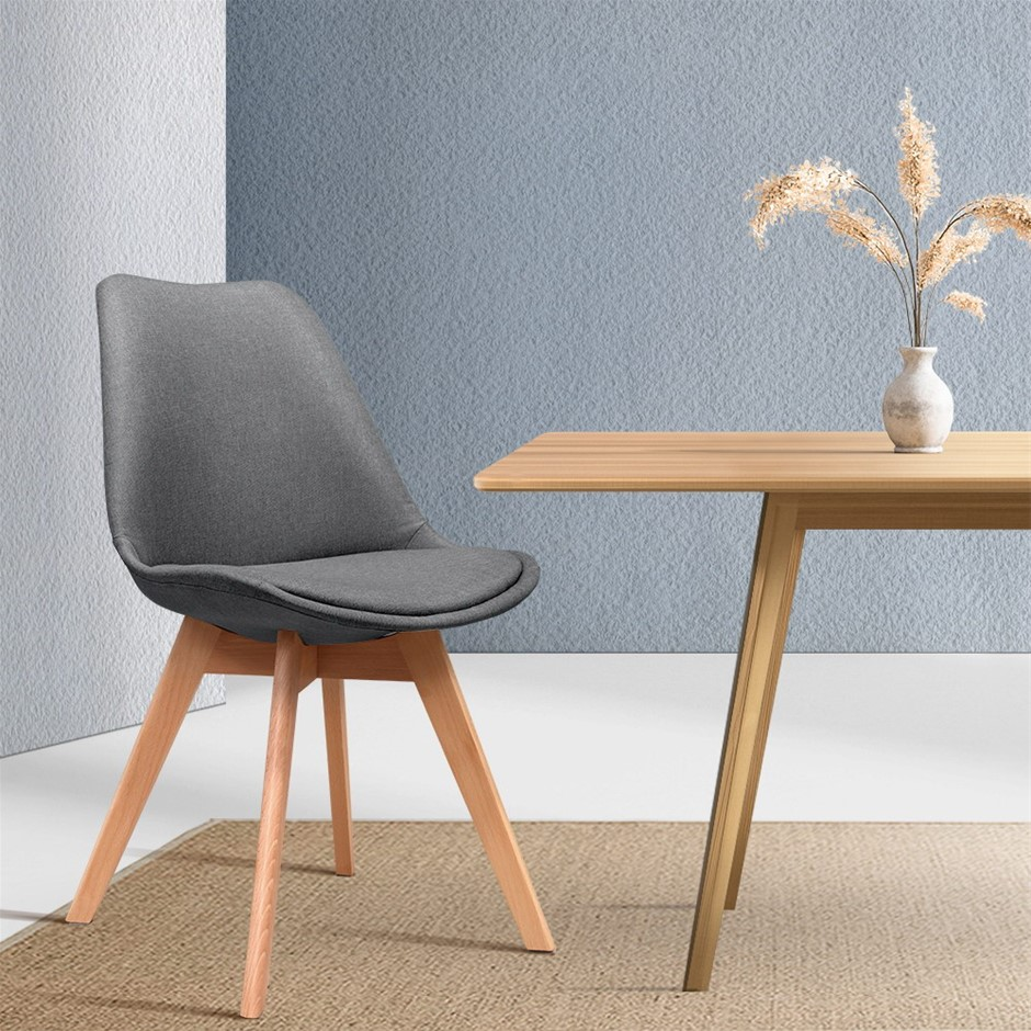 Artiss Dining Chairs DSW Retro Replica Eames Eiffel Chair Cafe Grey