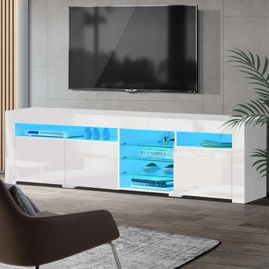 Artiss TV Cabinet Entertainment Unit Stand RGB LED Gloss 3 Doors 180cm