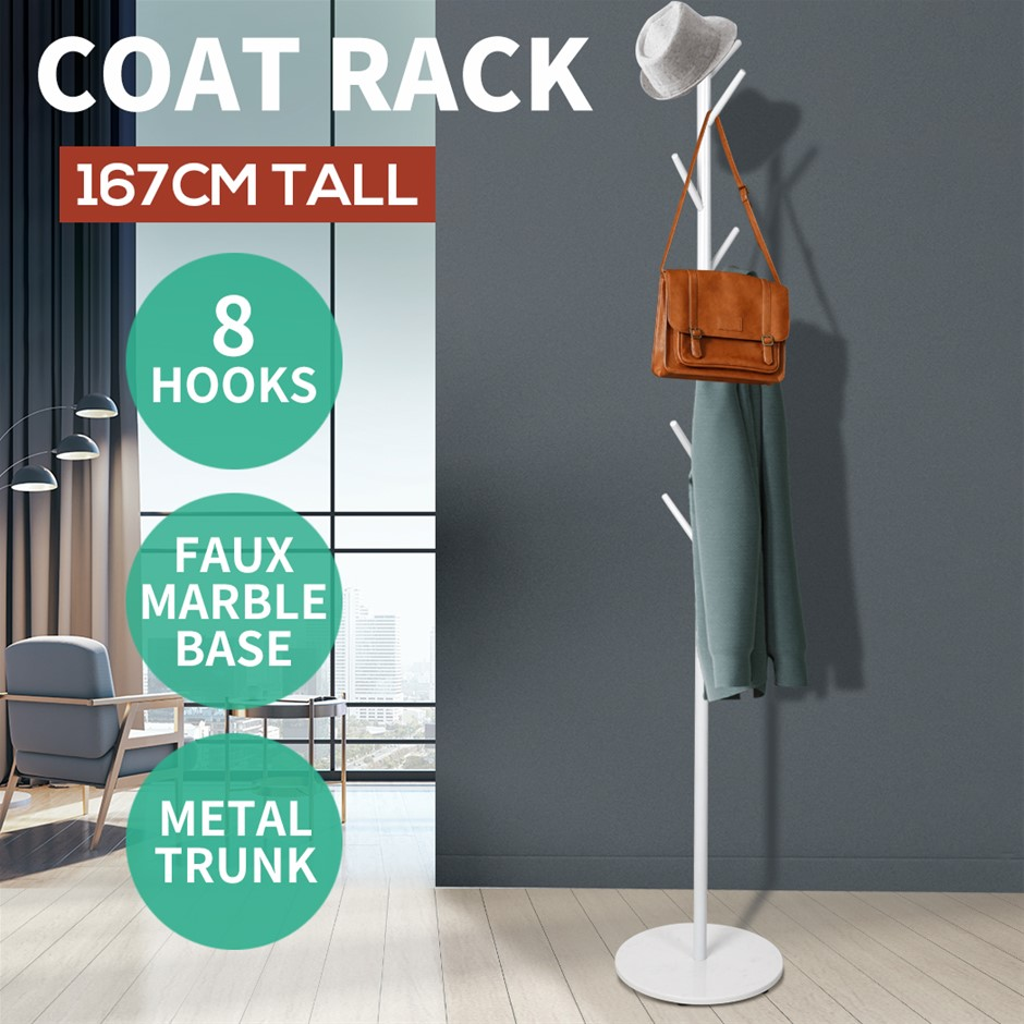 8 Hook Coat Stand Rack Metal Tree Style Storage Hat Clothes Hanger Shelf