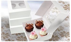 50 Pcs 4 Holes Cupcake Boxes w/ Window F