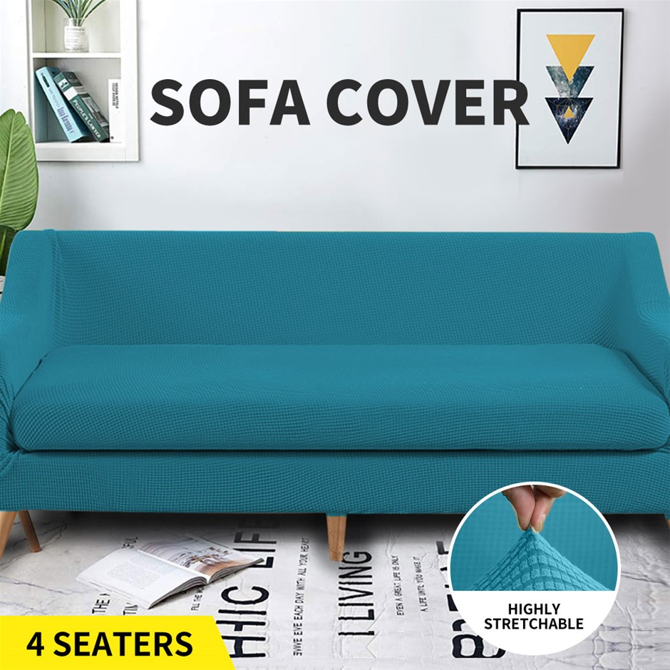 Couch Sofa Seat Covers Stretch Protectors Slipcovers 4 Seater Green