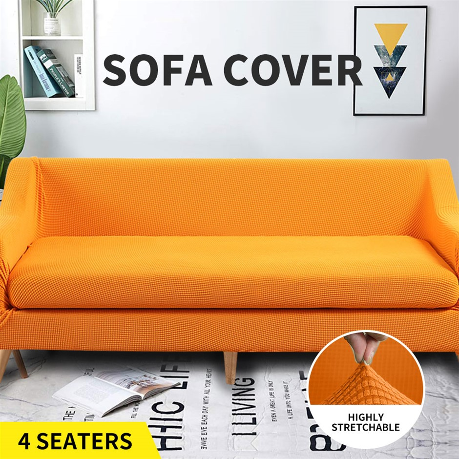Couch Sofa Seat Covers Stretch Protectors Slipcovers 4 Seater Amber