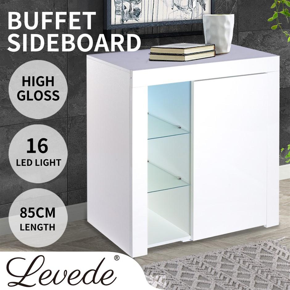 Levede Buffet Sideboard Modern High Gloss Furniture Cabinet Storage LED