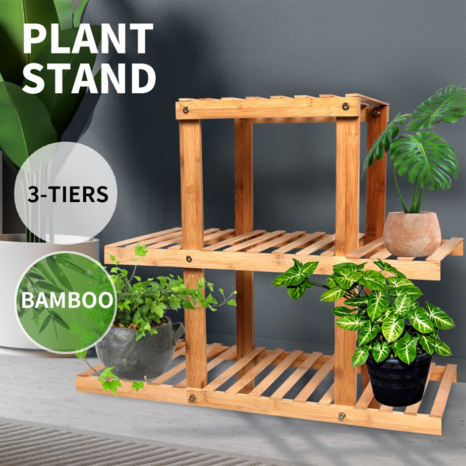 3 Tiers Premium Bamboo Wooden Plant Stand In/outdoor Garden Planter Flower