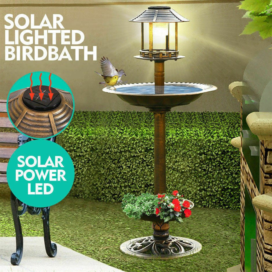 Ornamental Solar Light Garden Bird Bath Feeder Feeding Food Station