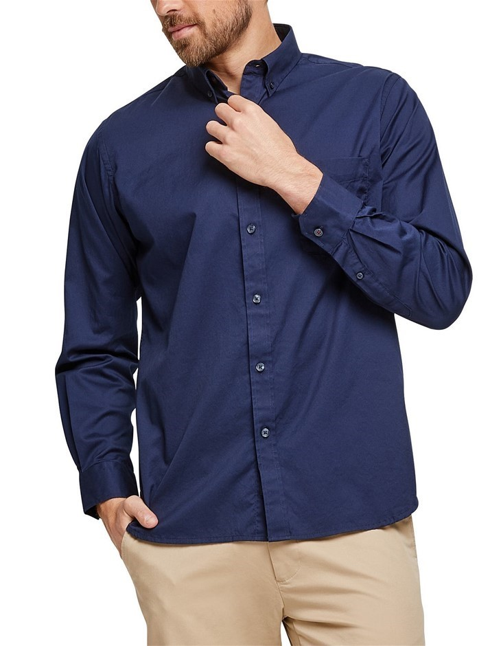 BLAZER Keith Long Sleeve Plain Shirt. Size M, Colour: Navy. 100% Cotton. Bu