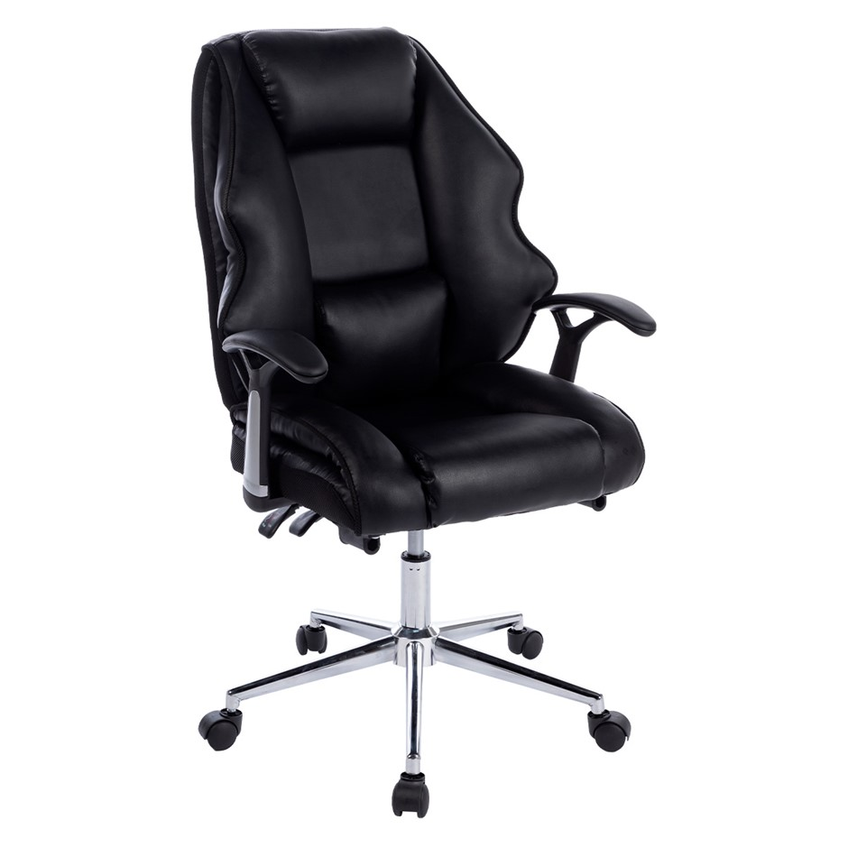 PU Upholstered Modern Reclining Executive Office Chair Black